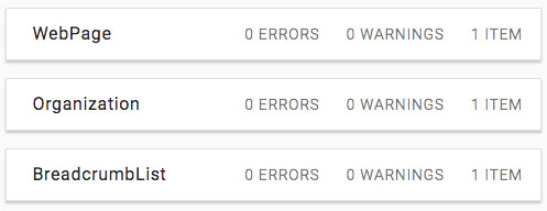 Passing the structured data test with 0 errors